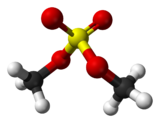 Molecuulmodel van dimethylsulfaat
