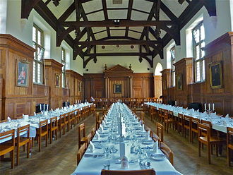 Selwyn College, Cambridge - The Dining Hall, with the tables laid for Formal Hall