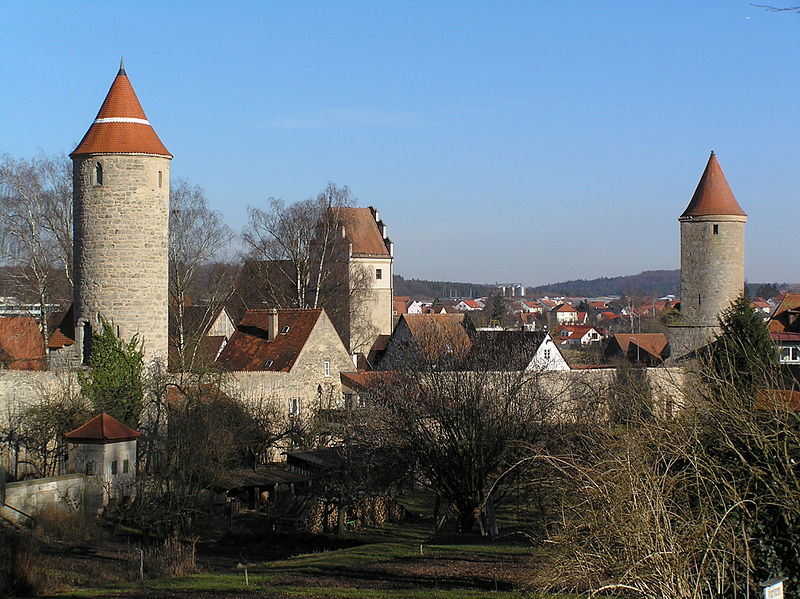 File:Dinkelsbühl, stadtbefestigung, Krugturm und Salvartenturm.JPG