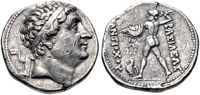 Diodotos I in the name of Antiochos II or coin of Antiochos Nicator Mint A near Ai-Khanoum