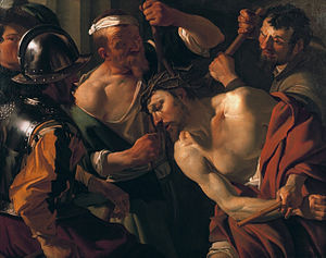 Jesus, King of the Jews - Jesus, crowned with thorns in a purple robe as the King of the Jews, being mocked and beaten during his Passion, depicted by van Baburen, 1623.