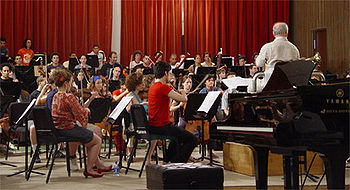 Photo of an orchestra playing in casual dress.