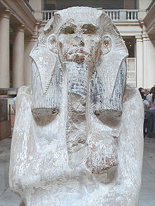 Limestone statue of Djoser from his pyramid serdab