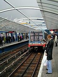 Docklands Light Railway 39 Crossharbour for London Arena (2002) (5872691008).jpg