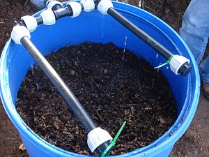 Vermifilter - Secondary treatment domestic vermifilter for wastewater showing drippers