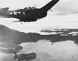 Douglas SBD-5 Dauntless covering landings at Tanahmerah Bay (Hollandia) on 22 April 1944