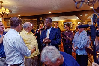 Ben Carson 2016 presidential campaign - Carson meeting with supporters in New Hampshire, August 2015.