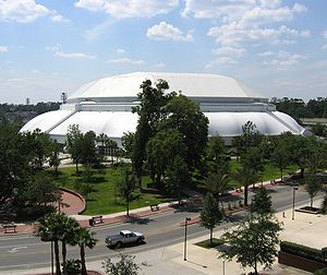 "Florida Gators men's basketball - Exterior view of the O'Connell Center, home arena of the Florida Gators men's basketball team.  The ""O'Dome"" is located on the University of Florida campus."