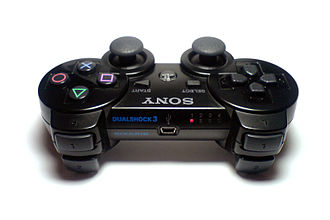 Sixaxis - The top of a DualShock 3 Sixaxis controller, LED lights on the right.