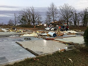Tornado outbreak of November 27–30, 2016 - Remains of a daycare center that was swept away by an EF3 tornado near Ider, Alabama.