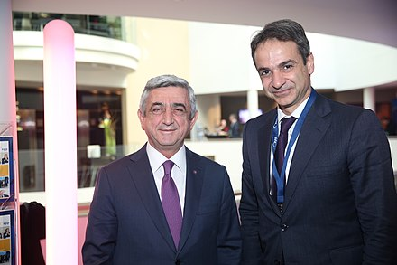 Mitsotakis and Armenian President Serzh Sargsyan in 2016 EPP Summit, Brussels, March 2016 (25834276136).jpg
