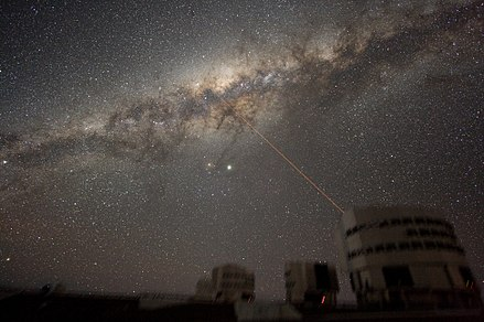 An accurate view of the Milky Way was used to replace Rose's view of the moonless night sky at sea, as in this photo from Paranal Observatory. The view was adjusted to match the North Atlantic at 4:20 am on April 15, 1912. ESO-VLT-Laser-phot-33a-07.jpg