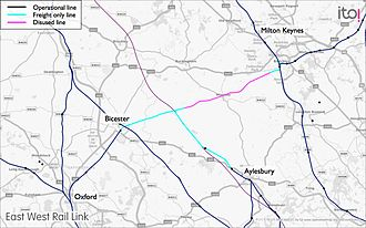 East West Rail Link - Western section of route connecting Bedford, Oxford, Aylesbury and Milton Keynes