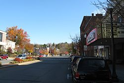 Eastbound MA Route 2A at the Garden Theater, Greenfield MA.jpg