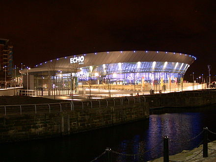 The M&S Bank Arena hosts numerous sporting events and was formerly the home of British Basketball League team, the Mersey Tigers Echo Arena Liverpool at night.jpg