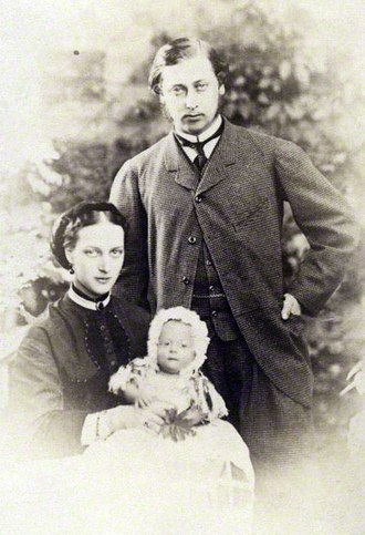 Prince Albert Victor, Duke of Clarence and Avondale - The Prince and Princess of Wales, Albert Edward and Alexandra, with their new-born son, Albert Victor, 1864