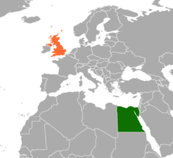 Map indicating locations of Egypt and United Kingdom