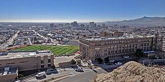 El Paso High School - El Paso High School and downtown El Paso, Texas, and Juarez beyond, view from Tom Lea Upper Park