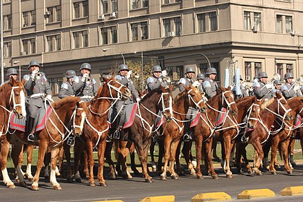 A mounted military band of the Chilean Army, in 2011 El batallon de Granaderos del Ejercito de Chile.jpg