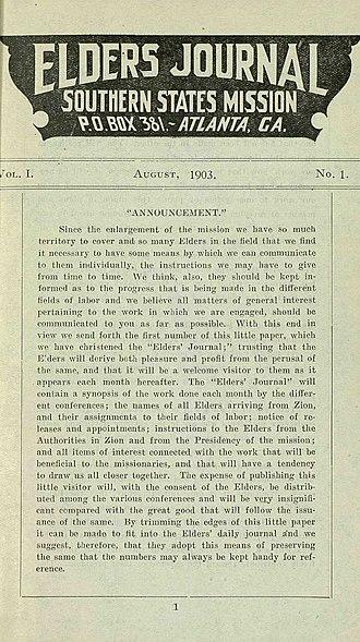 Elders' Journal - First issue of the new Elders' Journal. Atlanta Georgia, August, 1903.