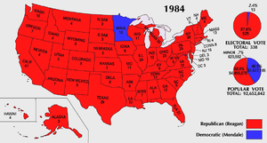1984 Presidential electoral votes by state. Reagan (red) won every state, with the exception of Minnesota and Washington, D.C.