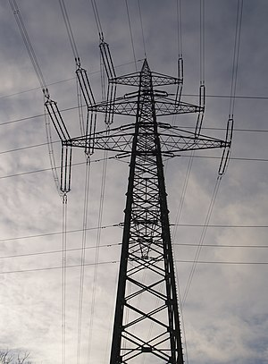 Electricity Pylon, crossing lines Deutsch: Abs...