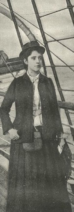 Elizabeth Bisland - Elizabeth Bisland on a ship's deck during her around-the-world race against Nellie Bly.