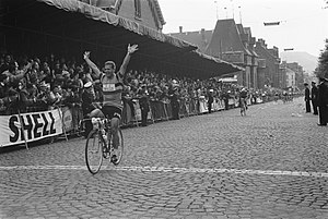 1961 Tour de France - Emile Daems crossing the finish line in Charleroi, Belgium, to win the third stage