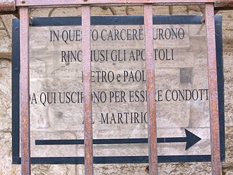 Mamertine Prison - The entrance to the prison records the tradition that Saint Peter and Saint Paul were imprisoned there