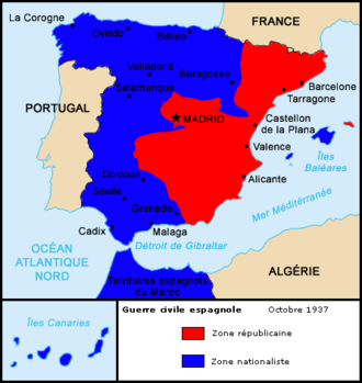 Battle of Teruel - Spain in 1937 just before the Battle of Teruel.  Note the Teruel salient south of Zaragoza.  Blue is Nationalist Spain and Red is Republican Spain.