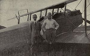 Etienne Dormoy - Image: Etienne Dormoy and John A. Macready in front of 1st crop duster aircraft
