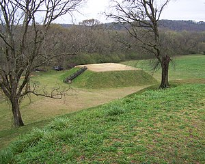 Muscogee - Etowah Mound C, was a part of a precontact Mississippian and ancestral Muscogee site occupied by ancestors of the Muscogee people from c. 1000–1550 CE, in Cartersville, Georgia