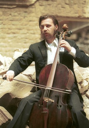 Culture of Bosnia and Herzegovina - Vedran Smailović, the cellist of Sarajevo.