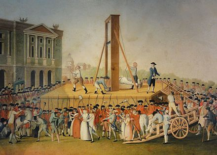 Marie Antoinette's execution on 16 October 1793: Sanson, the executioner, showing Marie Antoinette's head to the people (anonymous, 1793). Execution de Marie Antoinette le 16 octobre 1793.jpg