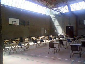 English: A typical Junior Certificate exam hall.