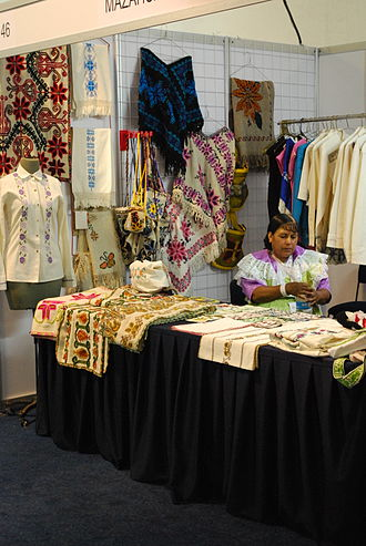 Mazahua people - Stand with Mazahua textiles at the annual Expo de los Pueblos Indígenas in Mexico City