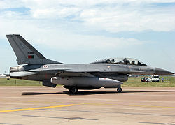 A twin-seat F-16B of the Portuguese Air Force taxis for takeoff