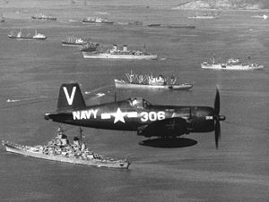 VFA-113 - VF-113 F4U-4B Corsair flies over U.S. ships at Inchon, Korea, on 15 September 1950