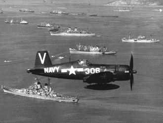 VFA-113 - VF-113 F4U-4B Corsair flies over U.S. ships at Inchon, Korea, on 15 September 1950