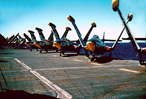 VF-114 - VF-114 F9F-5 Panthers lined up on USS Kearsarge in 1955