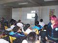 FLISOL 2014 en la Prepa Próceres de la Educación, Chicoloapan, Estado de México, México, plática sobre wikimedia.JPG