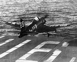 USS Badoeng Strait - A Ryan FR-1 Fireball launching from Badoeng Strait, 1947.