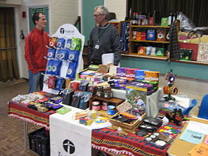 English: A Traidcraft Fairtrade stall in a chu...