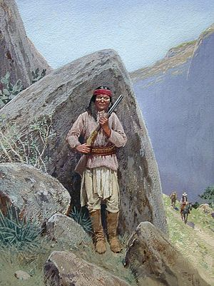 Battle of the Mimbres River - An Apache warriors by William F. Farny.
