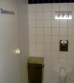 A modern female urinal at Dortmund Airport, Germany.
