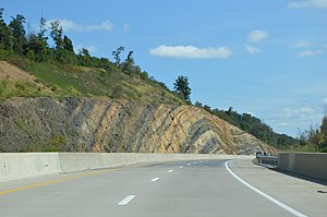 Fermanagh Township, Juniata County, Pennsylvania - A road cut along U.S. Route 322 with visible anticline rock strata