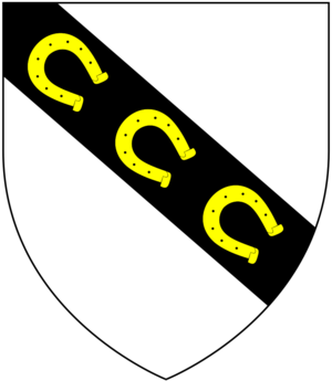 Richard Ferris - Canting arms of the ancient Anglo-Norman family of Ferrers of Bere Ferrers, Churston Ferrers, Fenyton, etc all in Devon: Argent, on a bend sable three horse-shoes or. The arms of Richard Ferris as shown on his monument have the tinctures transposed as: Or, on a bend sable three horse-shoes argent