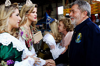 South Region, Brazil - Ex-president Lula greeting the local Brazilian women of Italian descent during the Festa da Uva party.
