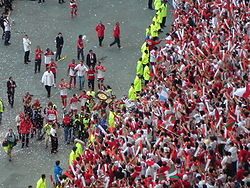 Celebrations after Biarritz' 2006 championship win over Toulouse.