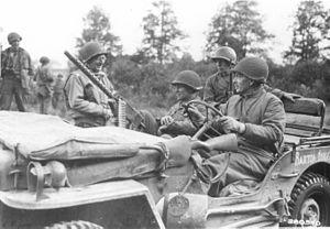 Raymond O. Barton - Major General Raymond O. Barton and Colonel Buck Lanham, Germany, September 14, 1944